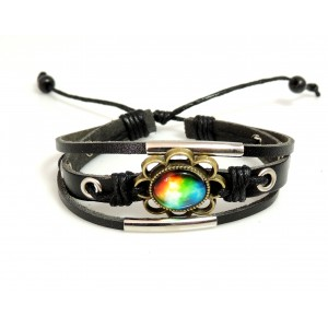 Bracelet en cuir véritable noir, cordon noir, décor métal