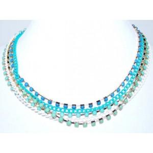 Collier pierres de couleur turquoise, 5 rangs,ras de cou femme